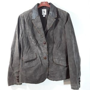 Tres Jolie Chocolate brown suede leather jacket